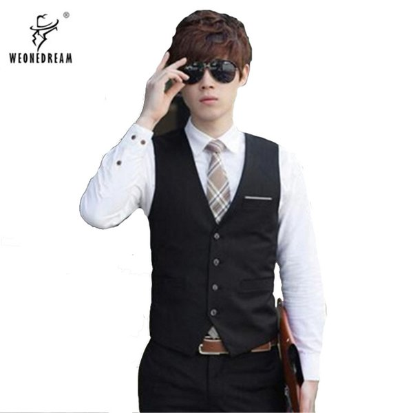 Dress Vest men white black for weddigs party 2017 summer autumn for business bridegroom suits vest slim fit navy blue gray