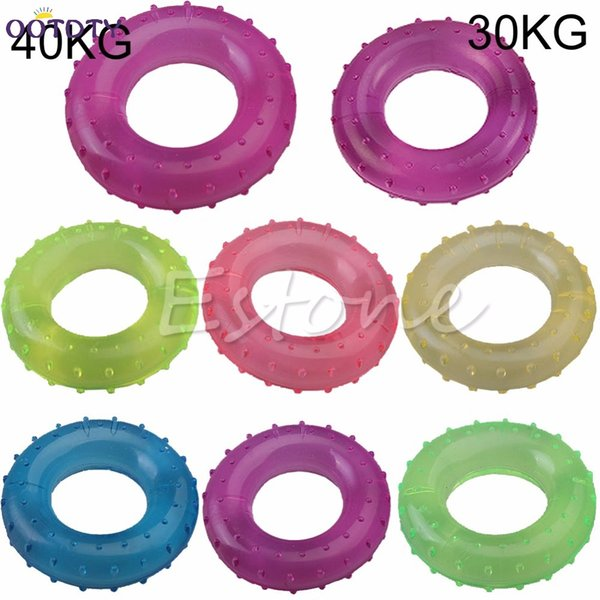 TOP 30KG/40KG Palm Finger Grip Muscle Strength Rubber Ring Fitness Power Exercise High Quality random color