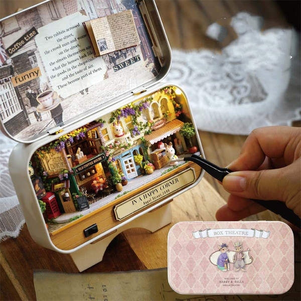DIY Wooden Handmade Cottage Box Toys Assemble Model Warm House Miniature Furniture Cute Cartoon Rabbit Doll Room Kids Gift