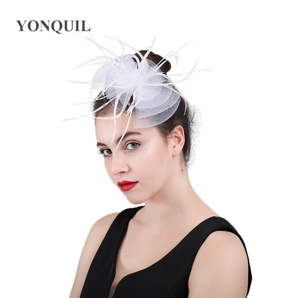 2018 Women Tulle Bow Hair Accessoires Feather Hat fascinator Headwear Net Feather Fascinator Hairpin French Hat Clips Party headdress SYF437