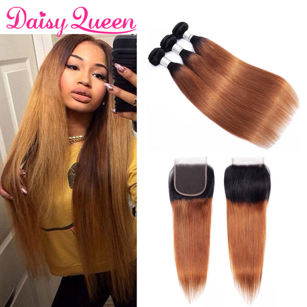 Ombre T1B/30 Brazilian Straight Hair Bundles with Closure Peruvian Indian Virgin Straight Human Hair Weave 3 Bundles with 4x4 Lace Closure