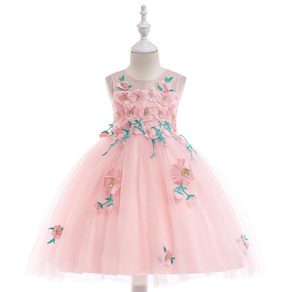 Elegante abito da ballo Flower Girls Abiti per matrimoni Sheer Neck maniche lunghe Applique Pizzo Tulle Abiti da sposa per bambini Ragazze Abiti da spettacolo