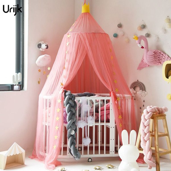 Urijk 1PC Children Bed Canopy Round Hung Dome Mosquito Net Bed Valance Kids Princess Room Decoration Moustiquaire for Baby Girls