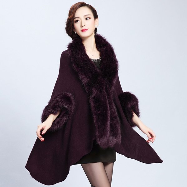 fur long knit cardigan shawl cloak coat female fur shawl