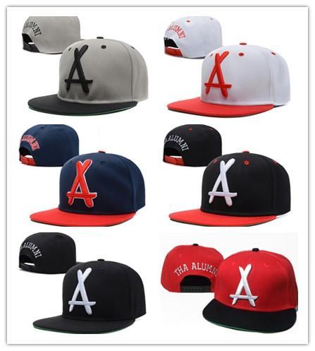 Hot Brand New Style Adjustable tha Alumni Snapback Caps white A letter Hip Hop Sport Hats Baseball Snap back Caps for men women