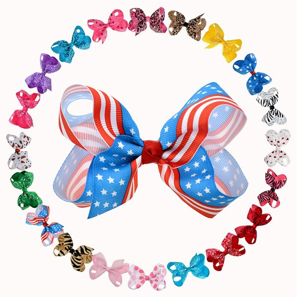 20pcs Fashion Assorted Hair Bows For Kids Children 4-4.5 Inch Polk Dots Patriotic Zebra Leopard Fabric Bows Handmade Hair Clips