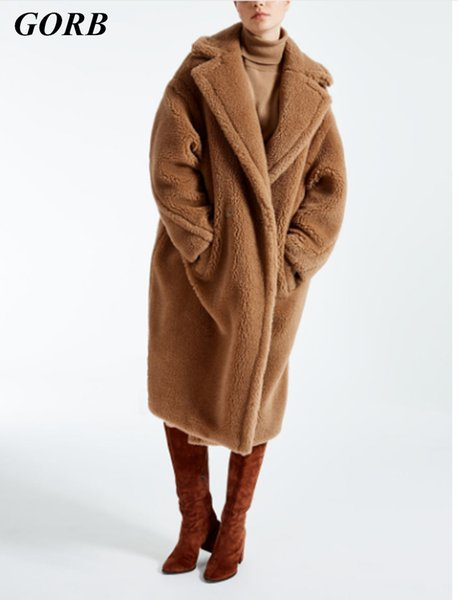 2017 Newest Winter Red Brown Women New Year Runway Cotton Clothing Fake Fur Thicken Warm Wool Long Teddy Coat Female XL