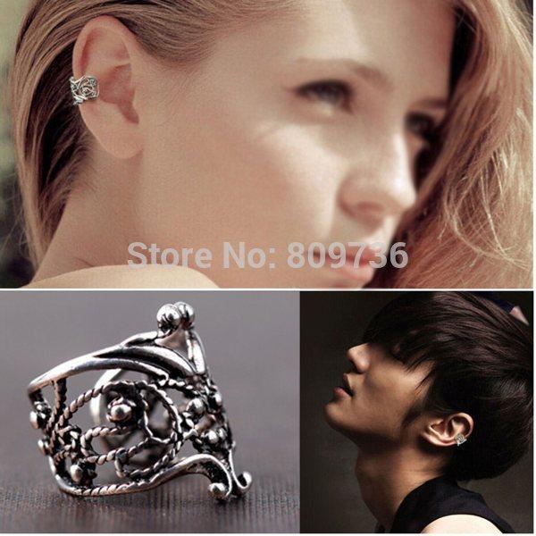 1PC New Fashion Punk Vintage Hollow out Engraving Ladie Ear Cuff Clip Earrings 2 Colors Hot Sale Bulk Drop