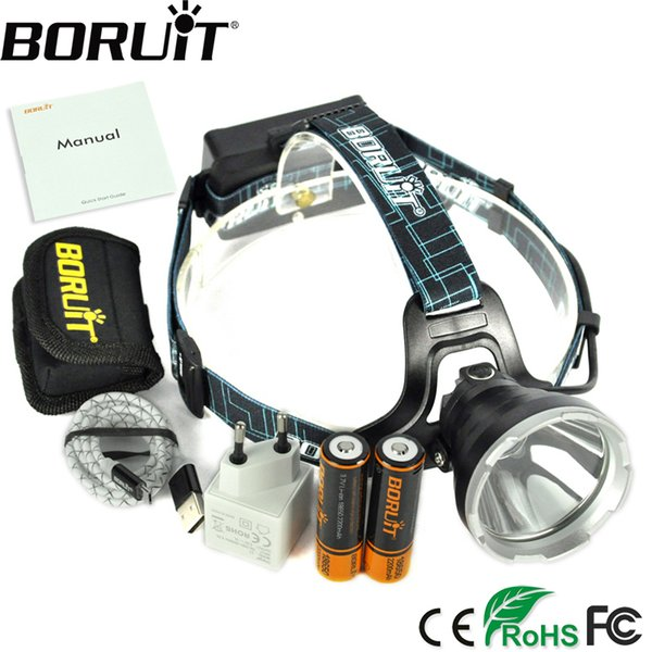 BORUIT B10 3800LM XM-L2 LED Headlamp 3-Mode Headlight Micro USB Rechargeable Head Torch Hunting Frontal Light Camping Lamp 18650