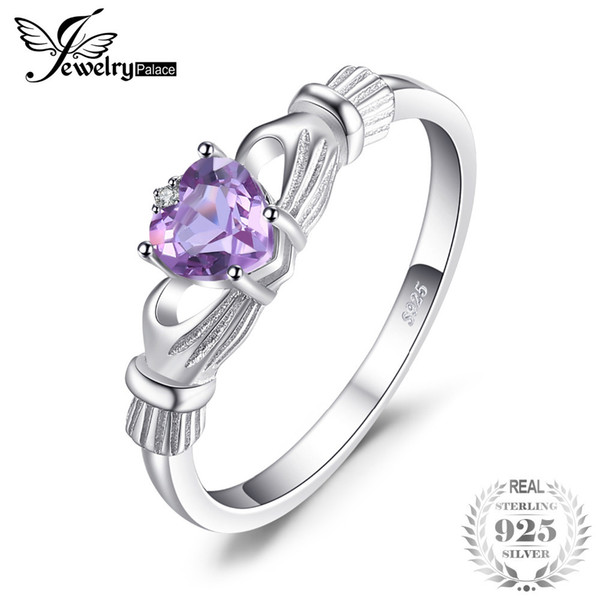 JewelPalace Cuore 0.7ct Claddagh irlandese creato alessandrite zaffiro Birthstone Promise Ring Donna argento 925 moda S18101002