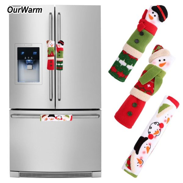 OurWarm 3PCS/Set Snowman Kitchen Appliance Refrigerator Handle Covers Christmas Decoration for Home Kitchen Tools Gift for Kids D18110903