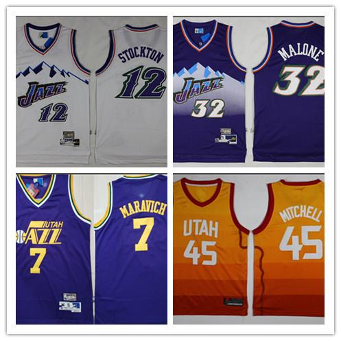 buy online 06fb8 aed87 2018 Embroidery Logo .Utah Jazz Mitchell 45 Malone 32 Stockton 12  Basketball Jersey White Blue Shirts From Happysneakers, $20.11 | Dhgate.Com