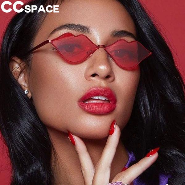 Compre Labios Rojos Gafas De Sol Mujeres Moda Marco De Metal Sombras ...