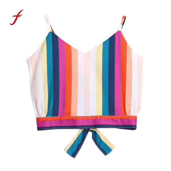 Women Casual V Neck Multicolor Striped Self Tie Back Crop Tops Camisole Shirt 2018 cropped feminino top cropped for women New
