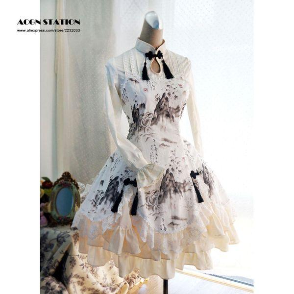 2017 best seller 5 stelle recensioni New Chinese Qi Lolita One piece Dress maniche lunghe Paesaggio Dragon Print