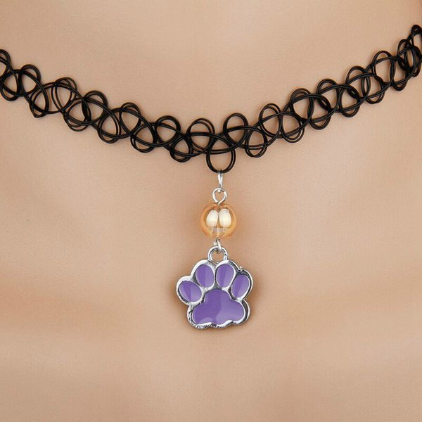 Hot 10 UNIDS Aleación Gota Glaze Cat Dog Paw Multicolor Grano de Cristal Encanto Colgante Tatuaje Estiramiento Elástico Collar Joyas de Halloween Regalo de las mujeres