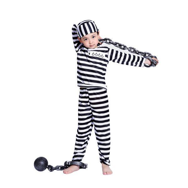 Traje Cosplay do dia das bruxas roupas menino criança listrado prisioneiro traje do disfarce mascarada