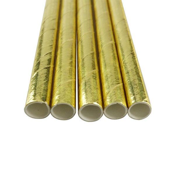 pajitas de papel de oro de la hoja