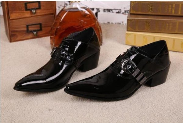 2018 Design Mens Patent Leather Shoes Genuine Leather Black Formal Men Dress Shoe For Wedding Party Buckle Business Oxfords