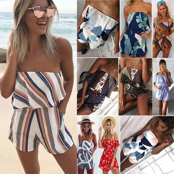 Women Off Shoulder Floral Print Ruffles Jumpsuits Rompers Summer Sexy Beach Short Overalls Wrapped Strapless Rompers Playsuits