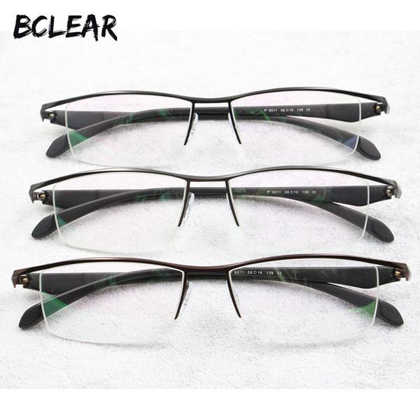 BCLEAR Neue Männer Business Brillengestell Halbrand Marke Titanlegierung Myopie Brille Ultraleicht Mode Quadrat Brillenfassungen