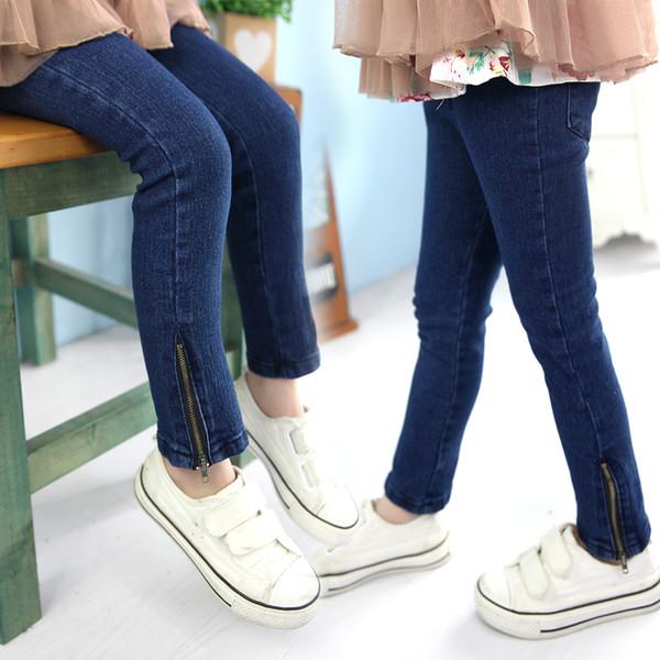 2016 spring autumn new arrival zipper girls pants baby kids pencil pants childrens jeans 3309