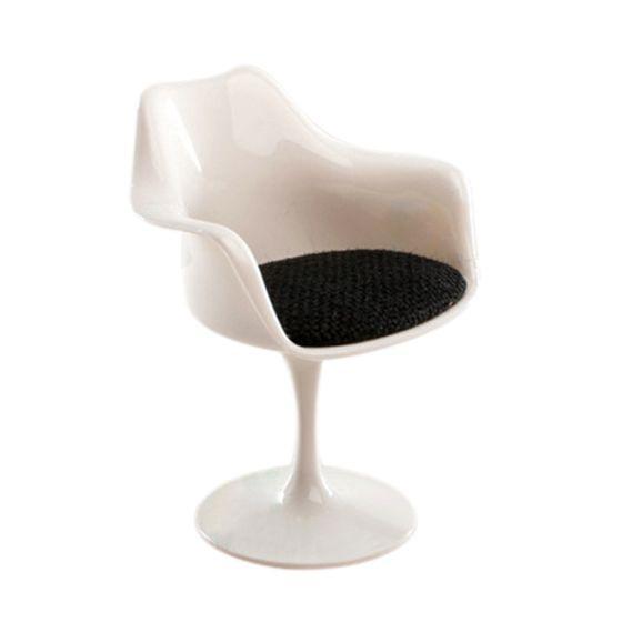 1:6 Scale Plastic Tulip Armchair Swivel Chair for Dollhouse Miniature Decor White & Black