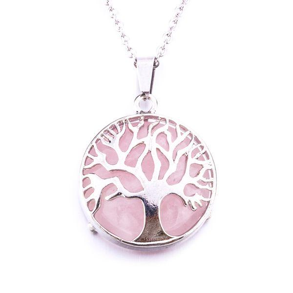 Natural Round Gem Stone Tree of Life Necklaces Pendants Pink Quartz White Crystal Lapis Lazuli Tiger Eye Opal Neklace