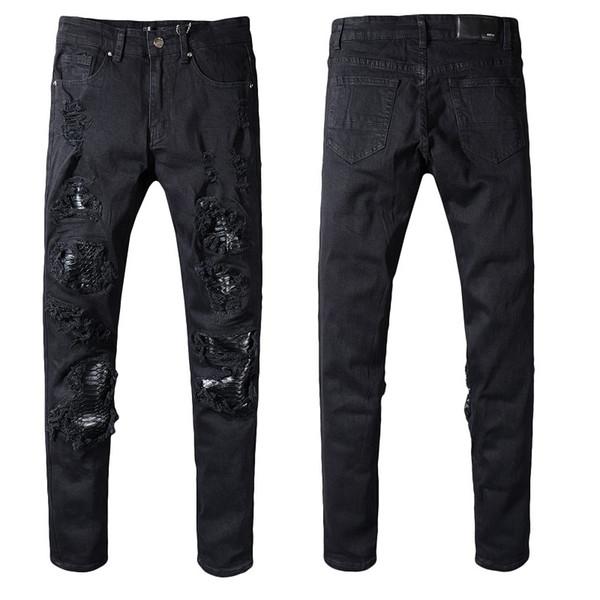 New # 5066 Herren Ripped Biker Distressed Stretch Slim Jeans Schwarz Washed Jean Größe 29-40