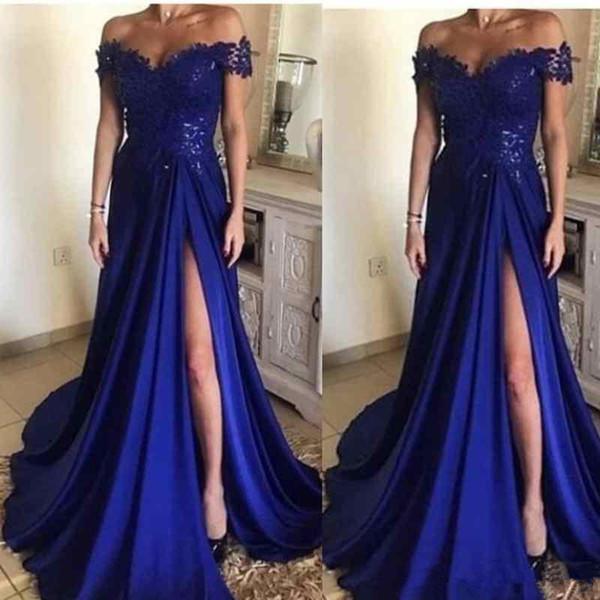 Élégant bleu royal longues robes de soirée en dentelle appliques hors épaule côté fendu long une ligne robes de soirée en satin des femmes formelles robe de bal