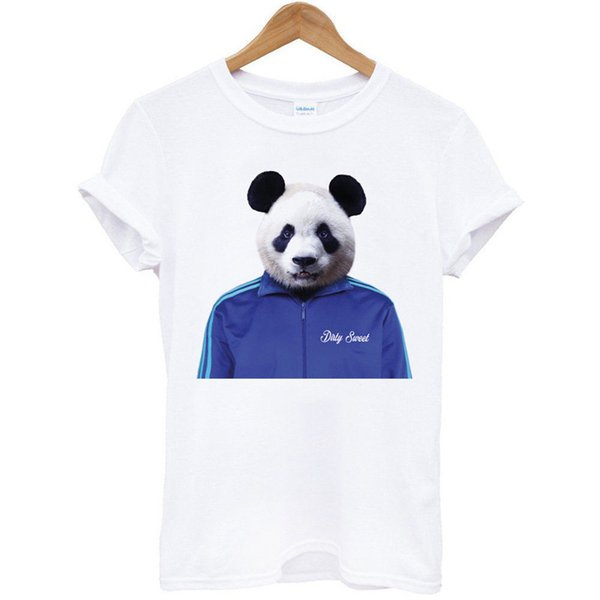 Yaz 2018 Artı Boyutu Tasarım Panda Ceket Hayvan Ekip Boyun Kısa Kollu Erkek T Shirt