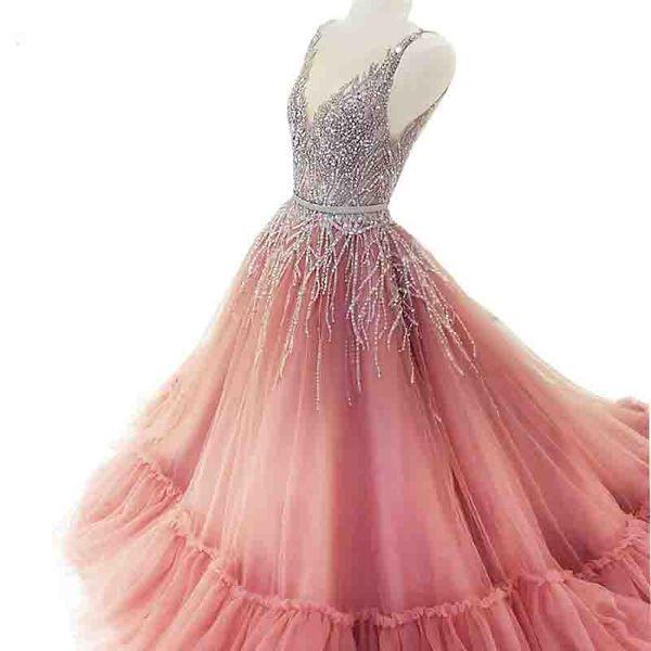 Stunning Long Evening Dress 2018 V-neck Sleeveless Beaded Crystals Sequin Floor Length Pink Special African Evening Gowns