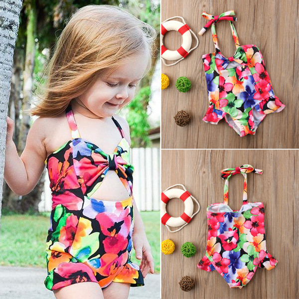Kids Baby Girls Bowknot Multicolor Flower One-piece Swimwear Bikinis Swimsuit Bathing Suit Beachwear Children Swimming Dress Summer Boutique