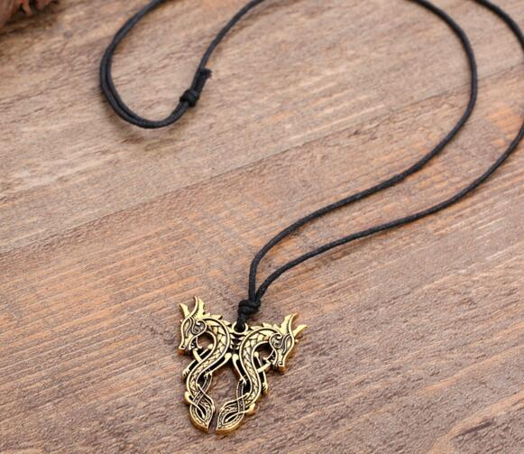 Vintage Fashion Jewelry Double Dragon Top Quality Punk Style Ssangyong Charm Pendant Viking Nordic Talisman Necklace