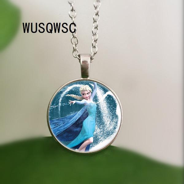 WUSQWSC ateş kolye karikatür kolye kız takı yuvarlak kolye kadın kızlar için hediye çocuk gümüş boyun dantel