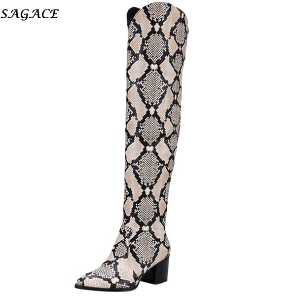 SAGACE Women Winter Boot Snake Pattern High Heel Shoes Over The Knee Slip-on Retro Knight Boots Ladies Round Toe Martin Boot#35