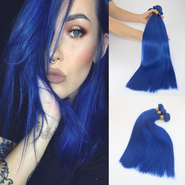 Blue Color Unprocessed Virgin Brazilian Remy Human Hair Extensions Slik Straight Hair Bundles 8A Grade Thick ends Hair Weft Weave