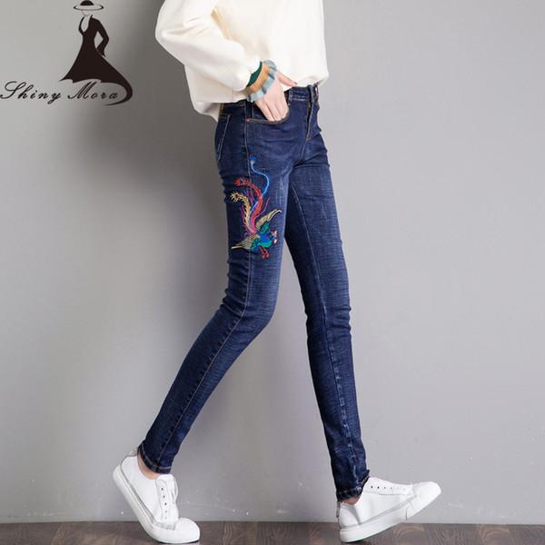 SHINYMORA 2017 Nuevos Pantalones Lápiz Pantalones Vaqueros Bordados Mediados de Cintura Denim Pantalones Flacos de Elasticidad Pantalones Vaqueros Largos para Mujer Otoño
