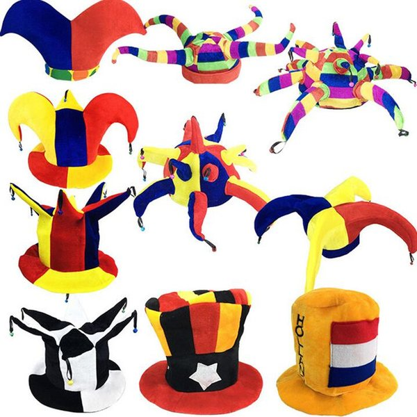 New Colorful Circus Clown Hat Kids Adults Football Beer Carnival Hats Halloween Fancy Dress Decoration Party Christmas