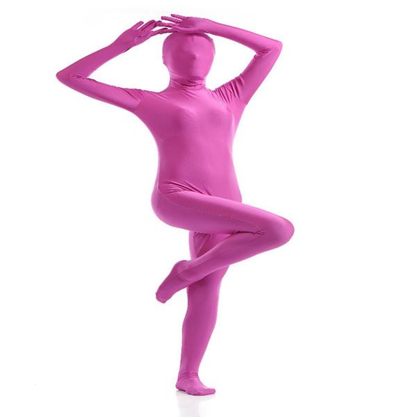 (SCF033) Tuta Zentai in lycra Fetish di nylon rosa e viola Spandex Tinta unita Unisex in pelle