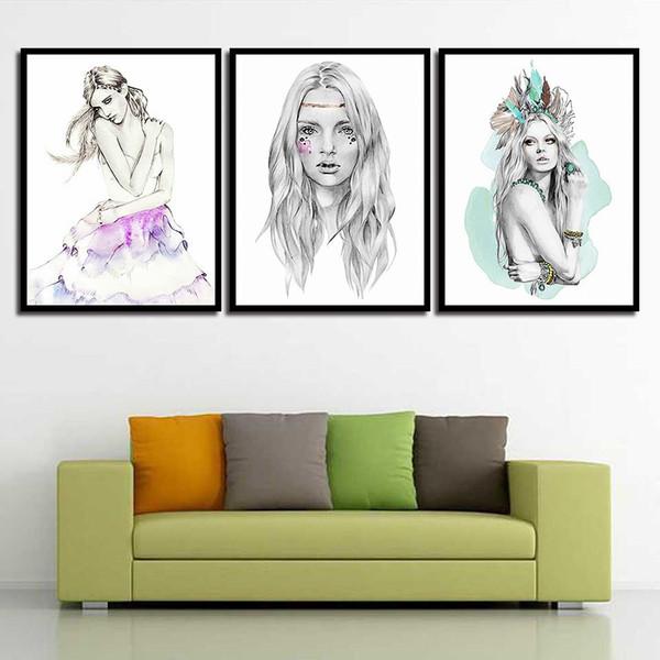 Acheter HD Wall Art Tirages Affiche Nordique Minimalisme Photos Belle Fille  Toile Peinture Salon Enfants Chambre Princesse Décoration De La Maison De  ...
