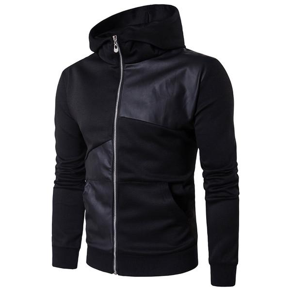 Hoodies Langarm-Patchwork Hoodie Streetwear Rollkragenpullover Hooded Cotton Leder Hip Hop Sweatshirt England Stil Heiße Verkäufe