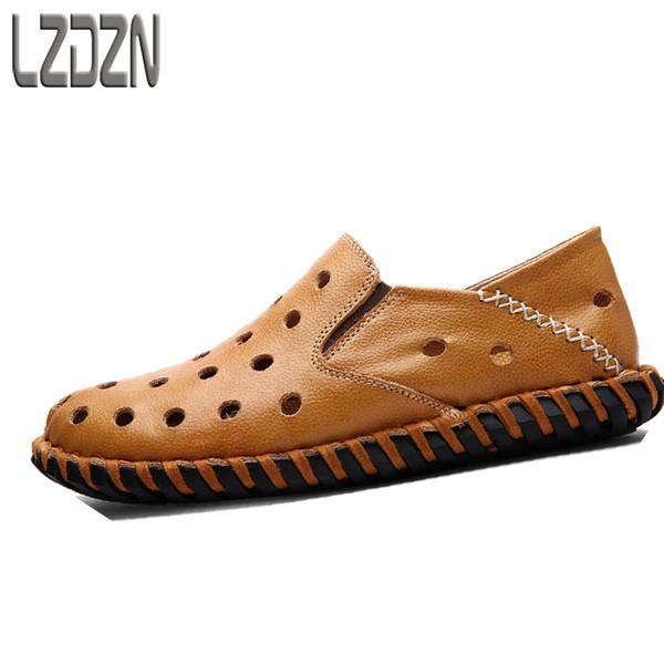 Sandales d'été hommes chaussures pantoufles peau glisser glisser Baotou demi-trou été hommes en cuir respirant sandales