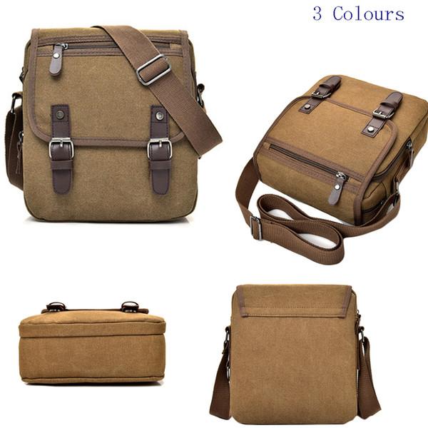 SFG HOUSE Fashion Mens Canvas Bags Travel Shoulder Messenger Bag Handbag Satchel Bag Flap PU Briefcase Casual New Hot