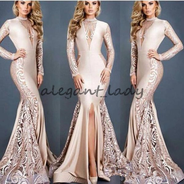 Michael Costello Dubai Arabic Sexy Slits Evening Dresses Nude 2018 Mermaid Long Sleeves O Neck Sweep Train Formal Occasion Prom Wear