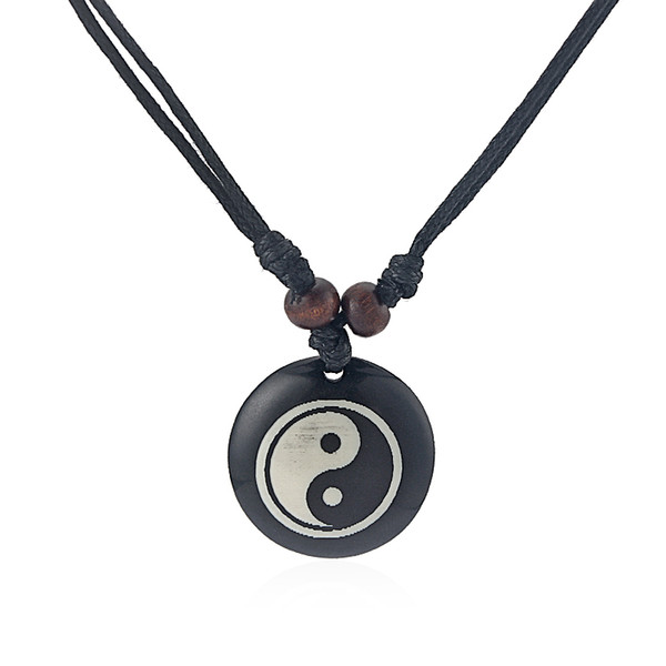 12pcs Black Faux Yak Bone Resin Yin Ying Yang Charms Pendant Necklace Adjustable