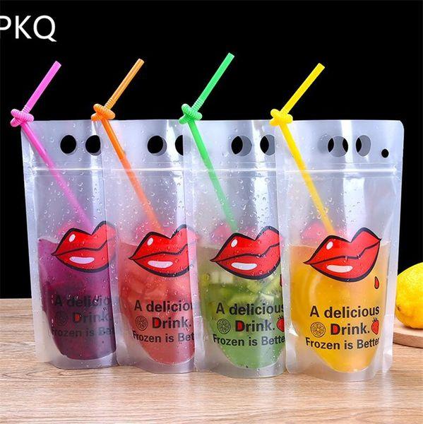 50 unids 400-500 ml bolsa de plástico bolsa de embalaje de bebidas para jugo de bebida leche café paquete con agujeros de mango paja libre