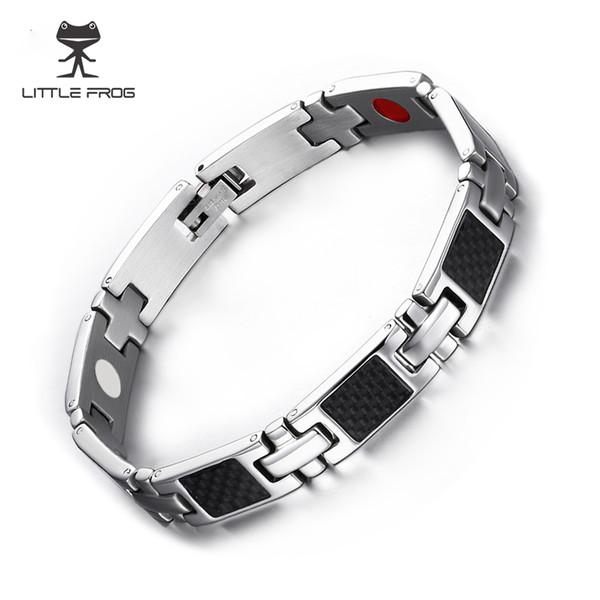 LITTLE FROG 2018 New Arrival Black Carbon Fiber Bio Magnetic Stainless Steel Bracelets Bangles for Men Hologram Bracelets 10281