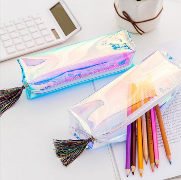 PVC Laser Transparent Pencil Case Dazzling Pencil Box Tassels Stationery Storage Organizer Makeup Bags Students Supply Pouch Coin Purse