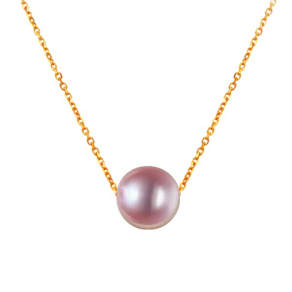 7.5-8mm 8-9mm 9-10mm 10-10.5mm Purple Round pearl thread AU750 18k chains Necklace for young ladies womens